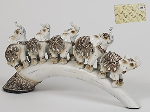 Figura decorativa resina elefantes Karma 32x16x6cm