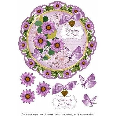 Daisy Lilla ideali per il Decoupage, 20 cm, motivo: centrino, Topper by Ann Vaux marie
