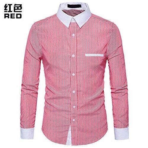 Printemps Manches Vêtements Pour Automne Stripe Rf Revers Longues Shirt Simple Hommes Men's byYfIg76v