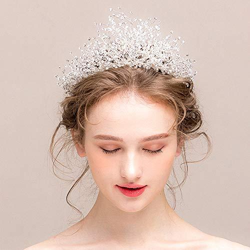roroz Hochzeit Krone Kopfschmuck, handgemachte Kristall Haarschmuck, Braut Elegante Hochzeit Accessoires 2019 neu,Silver (Halloween Ideen Elegante Hochzeit)