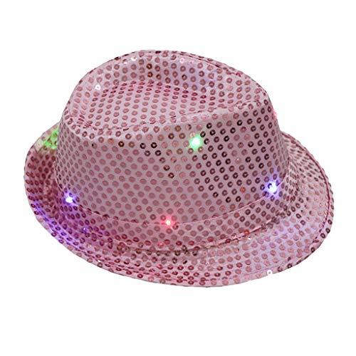 Vamoro Jazz Hut, Blinkendes Licht führte bunten Unisexabendkleid-Tanzparty-Hut Erwachsene Glitter Pailletten Hut Kostüm Party Cap für Tanzparty mit 9 Blinkende LED Lampen(Rosa) -