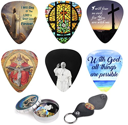 christian-guitar-picks-premium-gift-12-medium-celluloid-plectrum-include-pick-holder-tin-box-w-bible