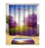 AieniD Badezimmer Deko Modern Romantische Bezaubernde Blumen Mehrfarbig Bad Vorhang Size:150X180CM