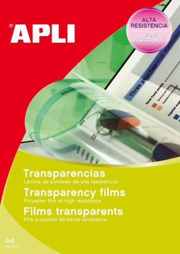 APLI 01062 Transparente etiqueta de impresora - Etiquetas de impresora (Transparente, Laser, 210 x 297, 100 pieza(s), 100 hojas, A4)