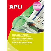 Apli 10290 - Caja de 10 transparencias autoadhesivas para impresoras