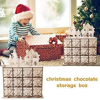 Caja de almacenamiento calendario Adviento de Navidad de madera, árbol Navidad Elk Village Organizador cajas de madera con cajón Número de forma de corazón Adornos de decoración Organizador de joyas