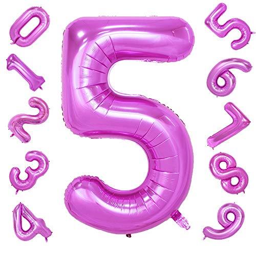 42 Pulgadas Grandes Globos Púrpuras Números 5, Globos Digitales de Helio Foil de Jumbo para Cumpleaños Fiesta de Aniversario de Boda Festival Decoraciones