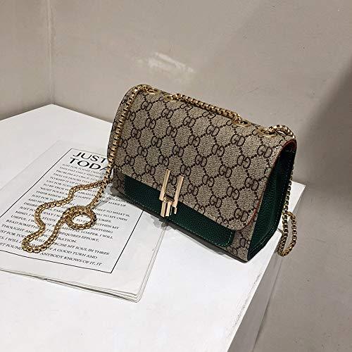 LFGCL Taschen womenOne-Shoulder Kettenbeutel Umhängetasche Textur Western Fashion Bag, grün
