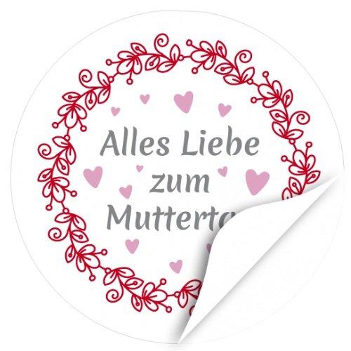 iketten, rund / Alles Liebe Vintage / Muttertag / Liebe / Herzen / Mama Geschenk / Geschenk-Aufkleber / Sticker / für Firmen (Mothers Day-aufkleber)