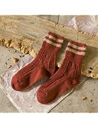 GRHY línea gruesa montón montón de otoño e invierno calcetines de algodón Camisa dos gruesos calcetines de lana caliente botas Retro, un tamaño,5 pares de color rojo oscuro