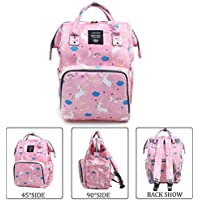 YIMOJI Baby Diaper Bags Multi-Function Waterproof Travel Backpack Nappy Tote Bags for Baby Care Large Capacity Pink Unicorn Print