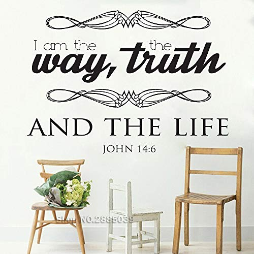 l Stickers Quote I Am The Way, Truth, and The Life Bible Verse Art Wall Decor Mural Inspirational Wallpapers L    79cm x 56cm ()