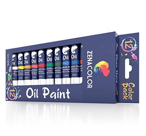 Set mit 12 Ölfarben von Zenacolor - 12 Tuben je 12 ml – Besonders hochwertige Farben - 12...