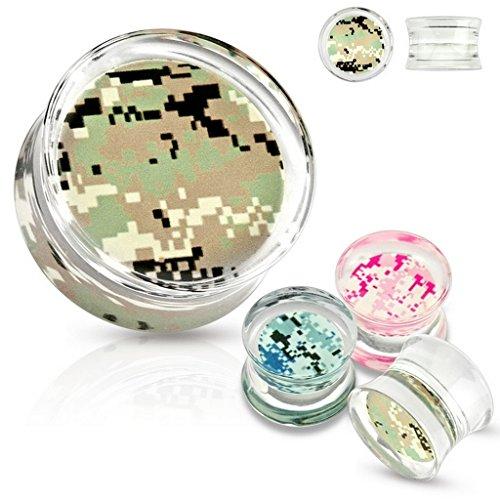 Plug camouflage en acrylique Taille 25 mm Vert