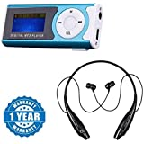 Captcha Digital Mp3 Player With LCD Display ,Led Torch & TF Card Slot With HBS 730 Wireless Bluetooth Headset For Motorola Moto G4 Plus
