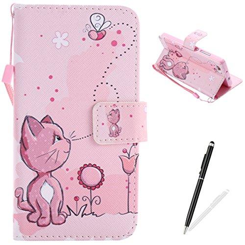 Feeltech HUAWEI P9 Lite Hülle PU-Leder und Brieftasche Bunte Muster Fall mit Magnetverschluss, Hybrid-Kickstand mit Stand-Funktion, schlagen Sie schützende weiche TPU Stoßstangenabdeckung und Kreditkartenhalter für HUAWEI P9 Lite Handgelenk Bügel-Buch-Art-Geldbeutel-Tasche mit 2 In 1 Berühren Sie Stift - Rosa Katze (Ziemlich Bügel)