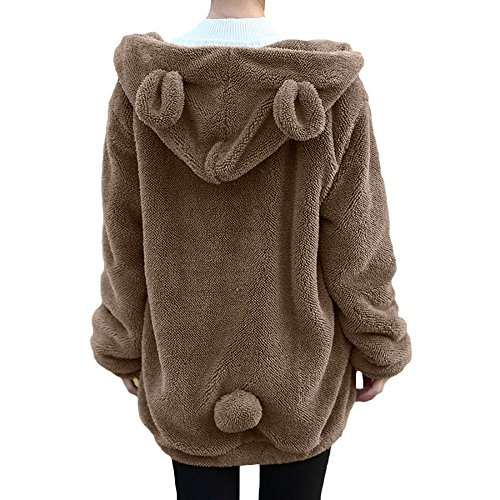 Sweatshirt damen Kolylong® 2017 Frauen Locker Plüsch Jacke mit Kapuz Herbst Winter Warm Mantel kurz Loose Hoodie Pullover Sweatshirt Outwear Wollmantel Bluse Tops (XXL, Khaki) (Sweater Tan Knit)
