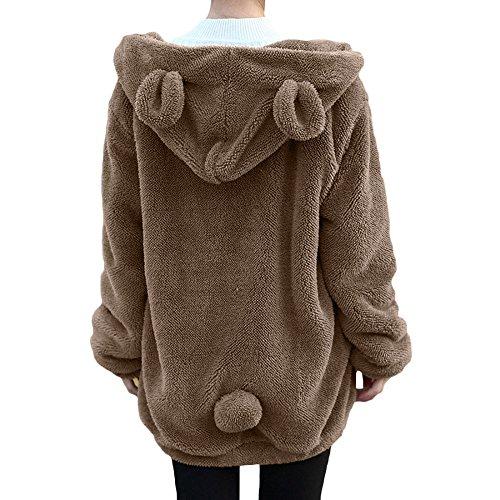 Sweatshirt damen Kolylong® 2017 Frauen Locker Plüsch Jacke mit Kapuz Herbst Winter Warm Mantel kurz Loose Hoodie Pullover Sweatshirt Outwear Wollmantel Bluse Tops (XXL, Khaki) (Knit Tan Sweater)