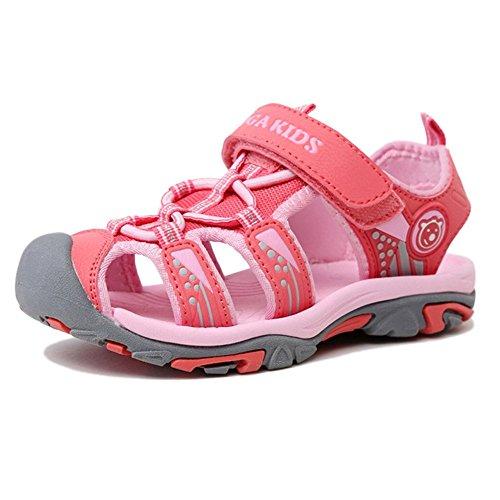 Aimee Sommer Strand Geschlossene Sandalen Klettverschluss Outdoor Wanderschuhe Ultraleicht Breathable Schuhe Flach Jungen Mädchen Kinder(EU 26 --- Schuhe Innenlänge 16.3cm,Pink)