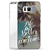 Finoo Samsung Galaxy S8 Plus Handy-Tasche Schutzhülle | ultra leichte transparente Handyhülle aus flexiblen Silikon | stylisches TPU Cover Case mit Motiv | Life is better in Flipflops