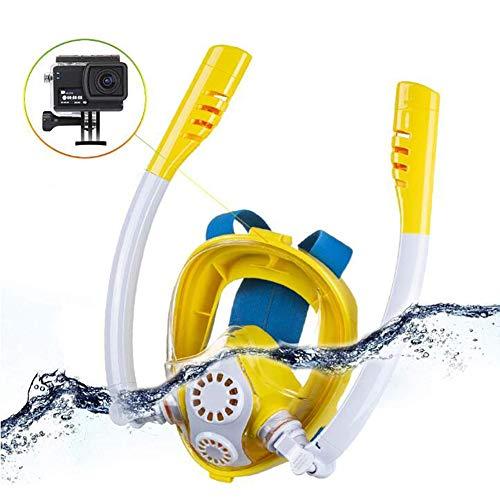 XIONGDA Masque de plongée Masque Complet de plongée en apnée Anti-buée et Anti-Fuite Souffle Facile avec Support de caméra détachable pour Les Enfants, en Particulier Les porteurs de Lunettes,Yellow