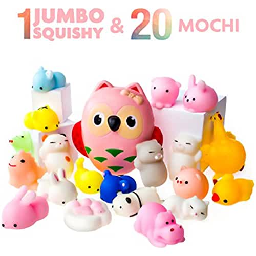 juguetes kawaii Juguetes Mochi Squishys - Pack de 20 Squishys y 1 Squishi Búho Jumbo de Hinchado Lento - Gato Mochi Squishy, Squishy Panda, Animales Mochi - Squishys Kawaii Jumbo - Squishys Para Llavero Correa