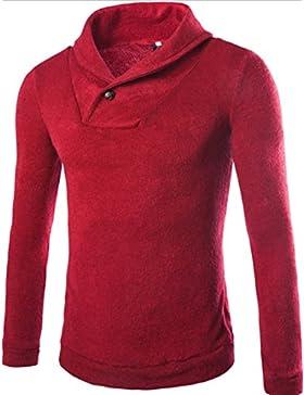 HY-Sweater Corea Versión Técnicos de Otoño y Invierno Fashion Jersey Sudadera Jacquard Establece, Rojo, Medium