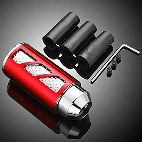 ZYHW Ergonomic Design Universal Red Anodized CNC Billet Aluminum Automotive MT Manual Transmission Gear Shift Knob Race Shifter Stick Cover Complete Set With 3 Adaptor Rubber Mounting Tool (Red)