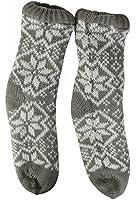 GRAU L Hüttensocken mit ABS Kuschelsocken Haussocken Socken Teddysocken Norweger gefüttert MT