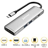 JYDMIX USB C Hub, Aluminum Defekt Adapter mit Type C Power Delievery Ladeanschluss, Ultra 4K HDMI 2.0 Video-Ausgang, EIN Micro SD Speicherkarten-Schächte und USB 3.0 Ports. Ladegerät/Dex Station