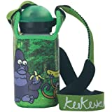 Botella de Laken y Kukuxumusu para niños con tapón deportivo Hit 350 ml Mono con funda de neopreno