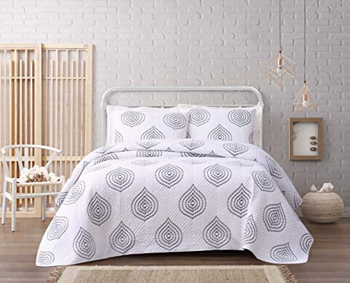 Cottage Classics Embroidered Ogee Quilt Set Full/Queen White/Navy - Cottage White Queen