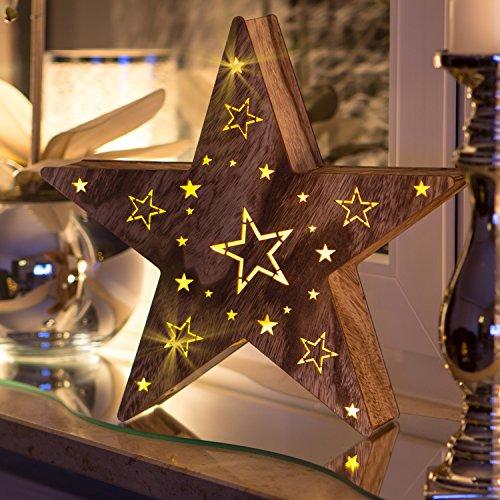 SnowEra LED Holzdekoration / Weihnachtsdekoration / Weihnachtsbeleuchtung mit 10 LED´s inkl. Batterien – Lichtfarbe: warm weiß | Form: Stern 2 - FSC 100 %