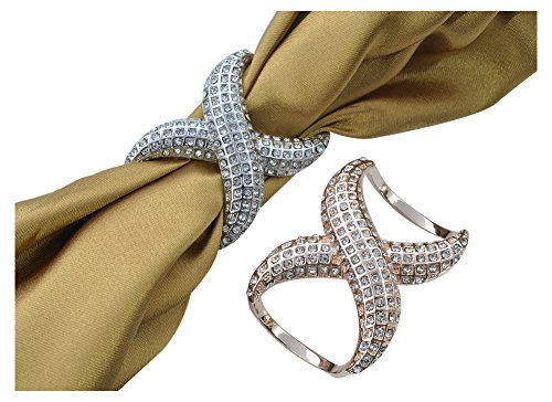 TOOKY Women's Elegant Faux Diamond Silk Scarf Clips Ring Buckle Holder for Wedding Party