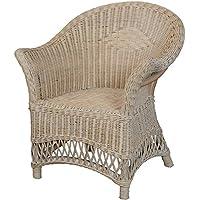 Preisvergleich für korb.outlet Kindersessel, Kinderstuhl mit Armlehne aus Rattan in der Farbe Vintage Weiss