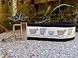 Schlüsselanhänger Schlüsselband Wollfilz schwarz Webband Tassen weiß blau Geschenk!