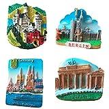 Bella 4PCS Imanes para Refrigerador Fridge Magnet Sticker Frigerator Imán Viaje Souvenir Alemania Berlín Clásica Decoración Hogar y Cocina