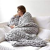 Yiomxhi Gestrickte Decke, Grobe Strickdecke Merino Decke Handgefertigt Armstricken Wolle Stricken Decke Haustier Bett Stuhl Sofa Yoga Matte Teppich(200x200cm/80x80inches)
