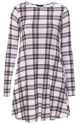 Get The Trend - Robe courte évasée à longues manches - Blanc à carreaux, 48/50