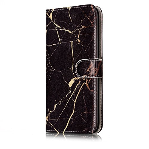 ETSUE iPhone 7 Plus Coque, iPhone 7 Plus Housse Cuir,iPhone 7 Plus Portefeuille Coque ,Etui Housse Cuir Folio Portefeuille Protecteur Coquilles Bumper pour iPhone 7 Plus Etui avec intérieure en Souple Noir Marbre