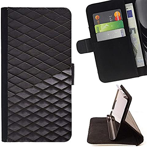 Samsung Galaxy S7 / Galaxy S7 Duos / G930 , Grigio Grigio Poligono 3D modello dimensionale - Portafoglio in pelle della Carta di Credito fessure PU Holster Cover in pelle case Per