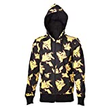 Pokemon Herren Kapuzenpullover Pikachu All Over Hoodie, Schwarz Black, L
