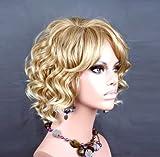 Impresionante encantador corto peluca rizado peluca de verano estilo piel Top Ladies Wigs UK