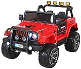 Actionbikes Motors Kinder Elektroauto Wrangler Offroad Jeep ALLRAD 2-Sitzer 4 x 35Watt 2x10AH Batterie Eva Reifen 4x4 (Rot)