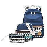 XHHWZB Baumwoll-Segeltuch-Schulrucksack-beiläufige Daypack-Umhängetasche für Teenager-Mädchen-Jungen (Farbe : Dunkelblau)