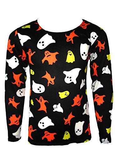 Mädchen langärmlig Halloween-T-Shirt für Kinder Kostüm-Geist Tops Alter 4-13 Jahre (Mädchen Halloween Kostüme Uk)