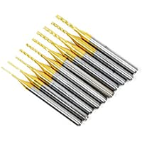 10 Pcs Cutter Cutting TiN Herramientas de Perforación Titanium CNC Carbide End Mill Set DIY (0.8-3.0)