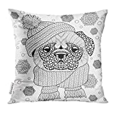 Cupsbags Throw Pillow Cover Pug Dog with Knitted Hat and Scarf Tattoo Adult Antistress Coloring Page Black and White Doodle for Book Decorative Pillow Case Home Decor Square 18x18 Inches Pillowcase