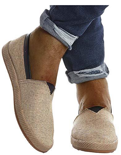 Leif Nelson Herren Espadrilles Schuhe für Freizeit Urlaub Freizeitschuhe für Sommer Flache Männer Sommerschuhe Sneaker Weiße Schuhe für Jungen Slipper LN200; 44, H. Braun