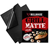 Grillmatte (3er Set) by Bullhouse BBQ® | Perfekt für Grill & Backofen | Extra dick & Garantiert hitzebeständig bis 260°C | Antihaftbeschichtung | 40 x 33 cm